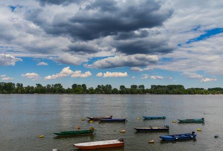 vue: Beautiful landscape near river Danube, boats