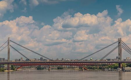 serbia landscape: Landscape of Belgrade, the capital city of Serbia, with bridge reflection in Sava river