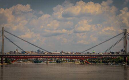 serbia landscape: Landscape of Belgrade, the capital city of Serbia, with bridge reflection in Sava river, vignette