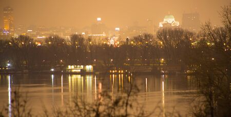sain: Danube river with Sain Sava temple at night