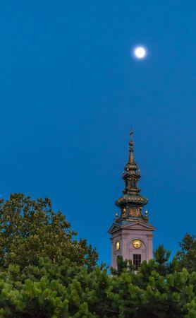 serbia: Saborna crkva at the night, Belgrade Serbia Stock Photo