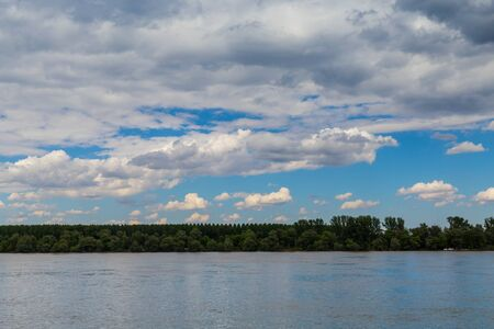 vue: Beautiful landscape near river Danube, forest Stock Photo