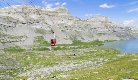 cable car: Swiss alps with lake, cable car