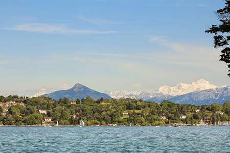 geneva: Mont Blanc, lake Geneva Stock Photo