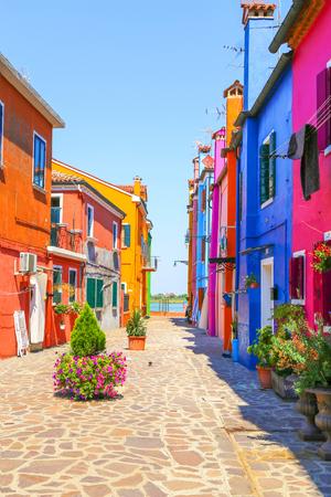case colorate: Venezia, punto di riferimento, Burano, canale, colorate, case, italia