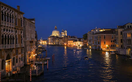 streetlife: Venice by night grand canal Stock Photo
