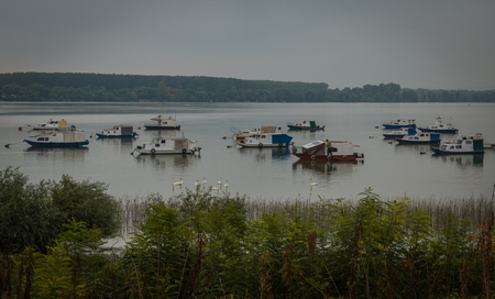dinghies: Small fishing boats, river Danube, Belgrade Serbia, cloudy, swans