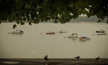 dinghies: Small fishing boats, river Danube, Belgrade Serbia, cloudy
