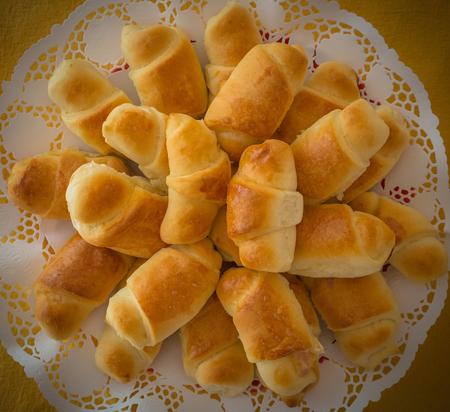 Mini croissant bread on buffet line