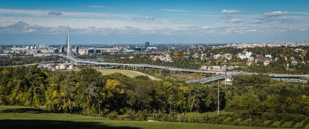 View on the Belgrade and New Belgrade in background, Ada Bridge landmark with beautiful blue sky