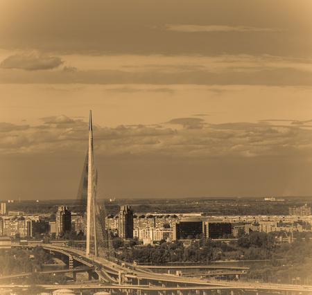 View on the Belgrade and New Belgrade in background, Ada Bridge landmark sephia effect Stock Photo