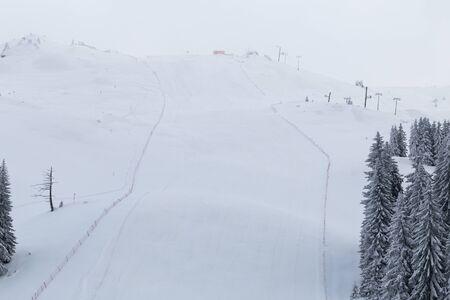 ski slopes: Snowy landscape on Jahorina mountain near Sarajevo, Bosnia and Herzegovina, ski slopes
