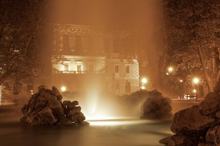 Fountains in Zrinjevac, one of most beautiful park in city. Night photo, long exposure