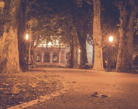 Zrinjevac, one of most beautiful park in Zagreb. Night photo, long exposure, haze effect