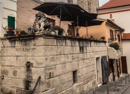 capita: Historic street and Stone gate on Upper town in Zagreb, capital of Croatia with beautiful stone statue of lion