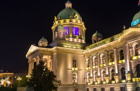 yugoslavia federal republic: Night view of the Serbian House of the National Assembly building where the national assembly convenes, located on Nikola Pasic Square in downtown Belgrade Long exposure photography