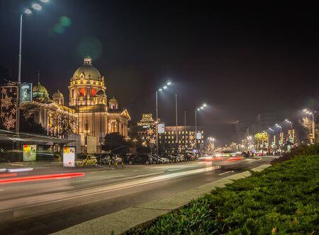 Parliament of the Republic of Serbia in Belgrade at night HDR effect long exposure Stock Photo