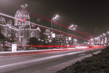 Parliament of the Republic of Serbia in Belgrade at night splash effect long exposure