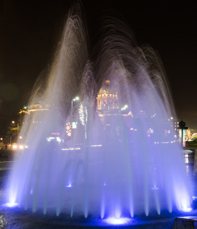 belgrade: Beautiful blue fountain night photography long exposure Belgrade building of parliament R. Serbia holidays decorations