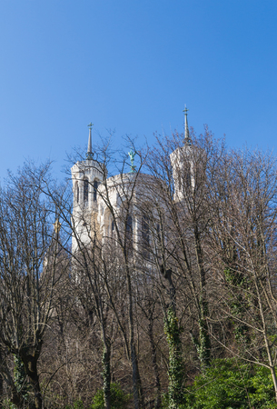 Basilica of Notre-Dame de Fourviere, view through the trees in Lyon, France