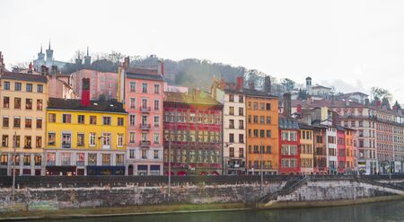 sone: Beautiful colorful houses on the banks of the Saone river in Lyon, France