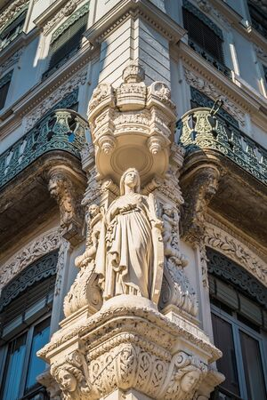 Facade of old building in Vieux-Lyon, with the many sculpture, the old city center of Lyon, France Stock Photo
