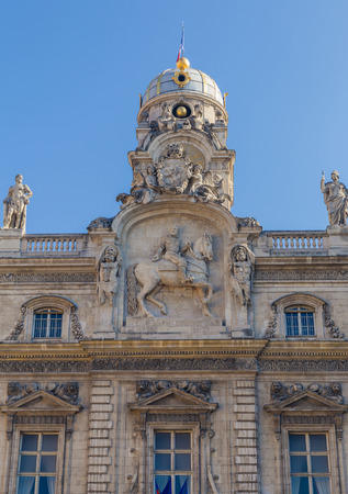 Part of facade of old building in Vieux-Lyon, with the many sculpture, the old city center of Lyon, France Stock Photo