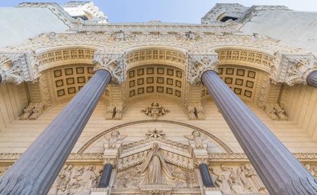 stone lion: Part of basilica of Notre-Dame de Fourviere in Lyon, France