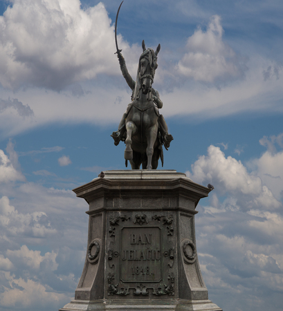 croatian: Ban Jelacic monument isolated on the sky background, Zagreb Croatia.Vertical position Stock Photo