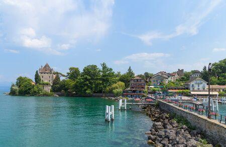 Yvoire castle near the beautiful lake Leman. Auvergne-Rhone-Alpes, France Editorial