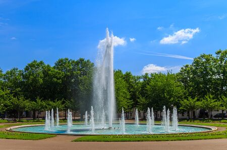 sported: Beautiful fountain at place the President Wilson. City of  Dijon, Bourgogne Franche-Comte province Stock Photo