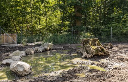 Place for pig with mud. Public park, city of Lausanne, canton Vaud, Switzerland. Stock Photo