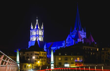 Cathedral in Lausanne with christmas decoration and traffic lights. Canton Vaud, Switzerland