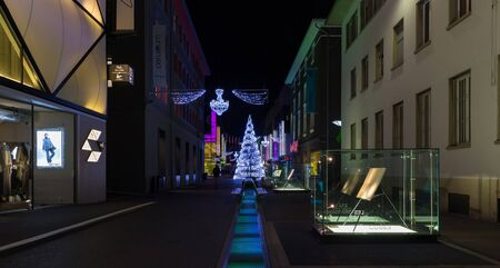 Night in Flon with the christmas and new year decorations. City of Lausanne, canton Vaud, Switzerland.