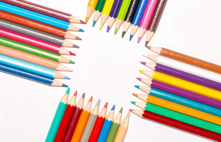 Color pencils isolated on the white background Stock Photo