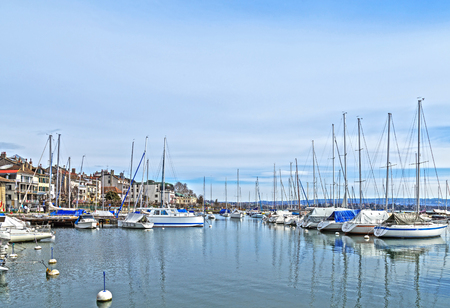 Small marina, city of Morges near the Lausanne city. Canton Vaud, Switzerland