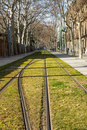 The tram line in Barcelona city with avenue. Urban outdoor photography