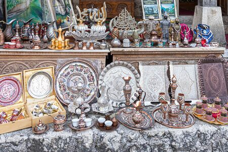 Copper product as souvenir for visitors and tourists in Old Town Mostar. Bosnia and Herzegovina.