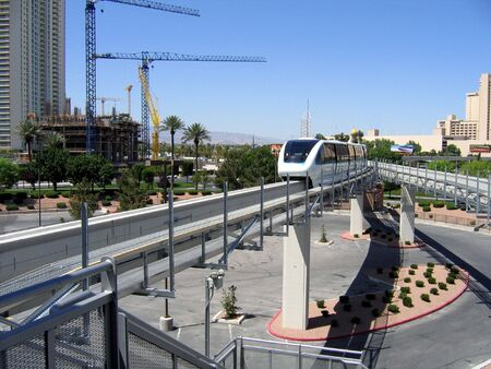 monorail: A Las Vegas Monorail Pulls Into The Station