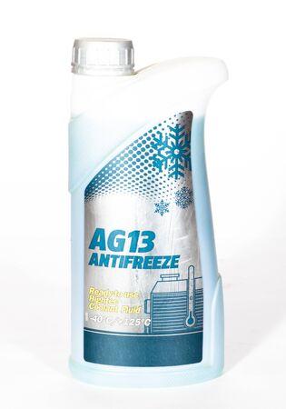 Single motor antifreeze bottle isolated on white