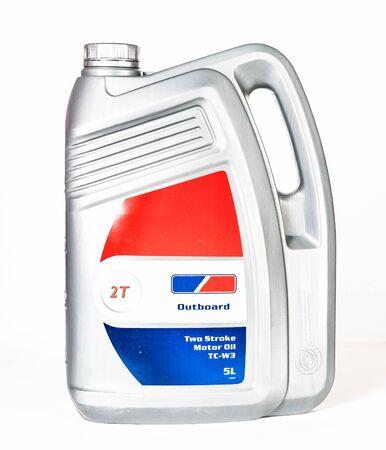 Single motor oil bottle isolated on white Stock Photo