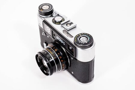 Sharp realistic picture of old Russian soviet 35mm film rangefinder camera Фото со стока