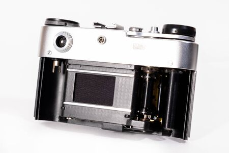 Sharp realistic picture of old Russian soviet 35mm film rangefinder camera Stock Photo