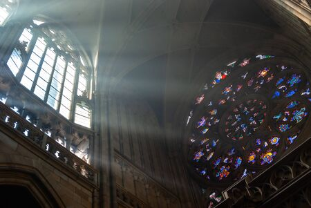 St Vitus Cathedral majestic morning misty interior. Angle, architecture. Prague Czech