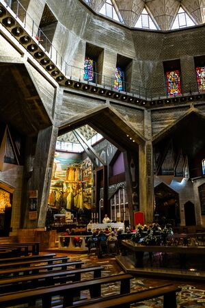 Inside the Basilica of the Annunciation in Nazareth, Israel Stock Photo