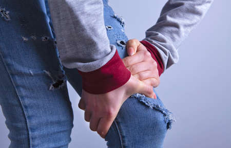 woman knee pain Banco de Imagens