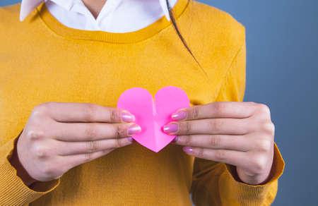 girl heart paper Banco de Imagens