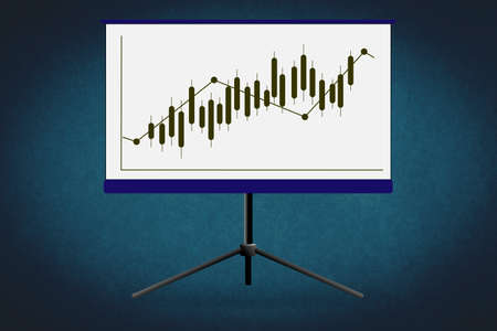 Business Growing Chart Presentation Icon Archivio Fotografico - 151076842