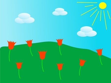 Green meadow with red tulips Vector