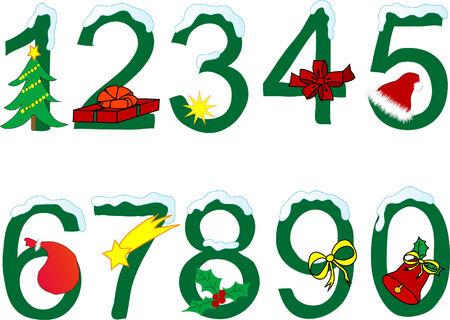 num�rico: Navidad en el numeral fondo blanco  Vectores